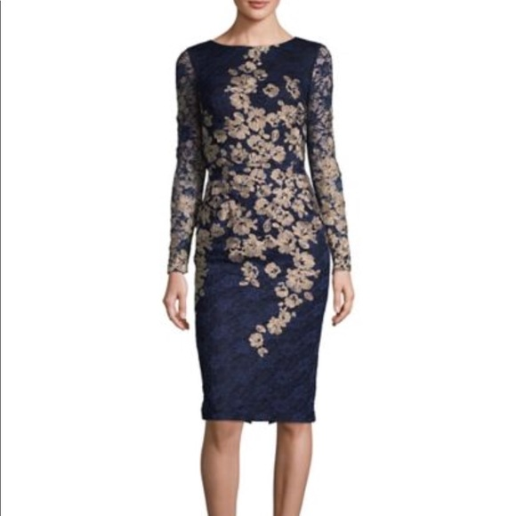 94484bb033e Xscape embroidered floral long sleeve dress. M 5a4aafd58290af877505c444